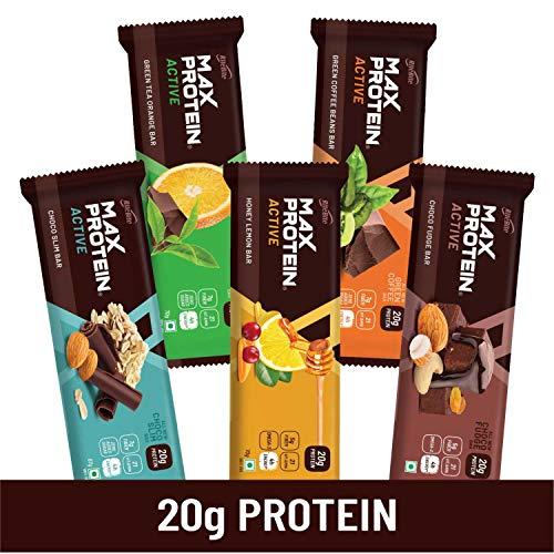 RiteBite Active Assorted Energy Bars 352gms Pack of 5 (Choco Slim, Choco Fudge, Green Coffee, Honey Lemon & Green Tea