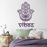 Vinyl Wandtattoo Hand der Fatima Hamsa Khamsa Vibes Gute Good Indisch Amulett Buddha Joga Zen Meditation Wandaufkleber Wandsticker Wanddekoration Fototapete Dekoration für Schlafzimmer M273