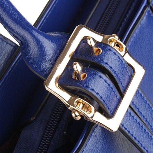 Fashion Modern Damen PU-Leder Crossbody top-handle Tote Ladied Handtaschen blau