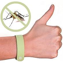 Paquete de cinco (5unidades) de pulseras repelentes de mosquitos 100% natural–sin DEET–Garantizada para trabajar–Disuade rápida y fácilmente los insectos durante horas–Repelente de insectos de aceite natural–Pulseras contra insectos seguras para los niños