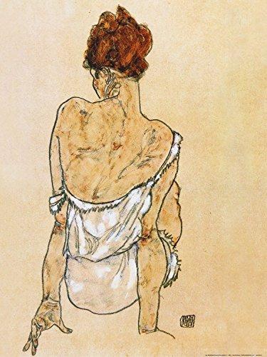 1art1 86987 Egon Schiele - Sitzende In Unterwäsche Rückenansicht, 1917 Poster Kunstdruck 80 x 60 cm