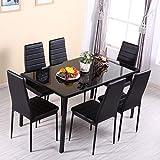 Generic Glasmöbel-Set für Tisch, gehärtetes Möbelset, 7-teilig, gehärtetes G-Set für Heimbürostuhl, Esszimmerstühle