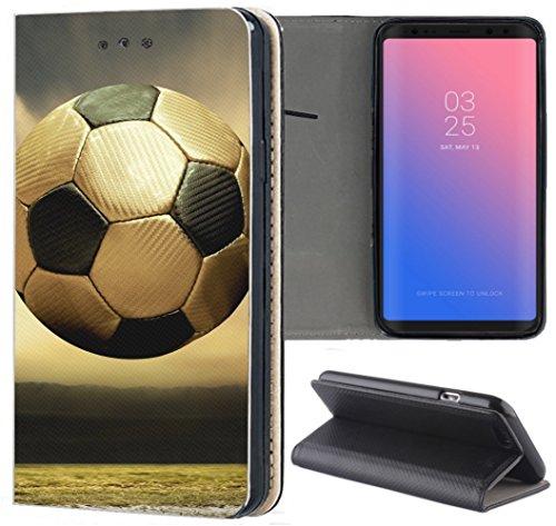 S3 Neo Hülle Premium Smart Einseitig Flipcover Hülle Samsung S3 Neo Flip Case Handyhülle Samsung S3 Motiv (1518 Fussball Fußball Schwarz Goldfarben) ()