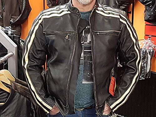 """Retro Schwarz Cafe Racer die """"Bonnie"""" 100% Bovine Leder Motorrad-Jacke CE Armoured–Elfenbein Streifen Gr. xl, Schwarz – Schwarz - 6"""