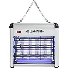 [pro.tec]® Mata insectos - matamoscas eléctrico, la mejor solución contra moscas, mosquitos, polillas y demás insectos, aluminio luz UVA ultravioleta potencia:12W