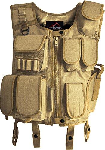 Taktische SWAT Weste mit Pistolenholster und abnehmbarem Schriftzug auf dem Rücken [XS-4XL] Farbe Coyote Größe (Coyote Kostüme)