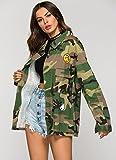 Escalier Frauen Taschen camouflage Military Vintage Jacken Mantel Denim Armee Gr¨¹n - 5
