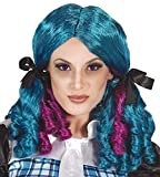 Ladies Blue Pink Curly Pigtails Bunches Cosplay Fantasy Comic Book Fancy Dress Costume Outfit Wig (One Size)