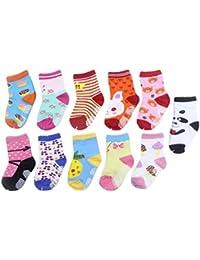 5 Pares Calcetines Bebé Calcetines Antideslizantes Unisex De Algodón Para Niños