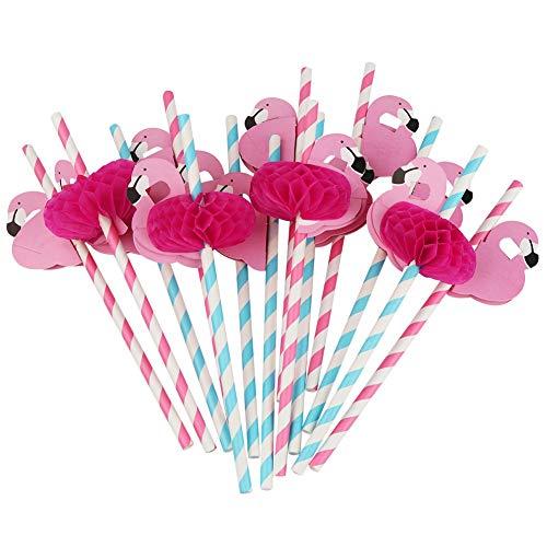 (Pingenaneer 50 Stücke Trinkhalme Strohhälme, Flamingo Papierstrohe für Hawaiian Luau Barware Beach Party Dekoration (Rose + Blau))