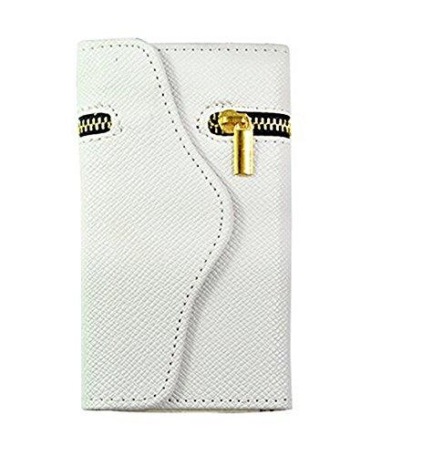 topways® Wallet Fall PU Leder Wallet Cover Schutzhülle mit Kreditkartenfächer und Standfunktion für Apple iPhone 611,9cm Weiß - weiß