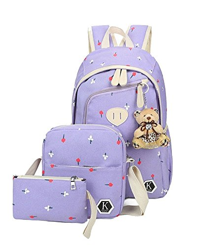 YiLianDa 3Pcs Stampa Borsa Canvas Backpack Viaggio Zaino di Tela per Unisex bambino Viola