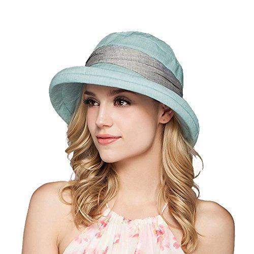 Yimidear Damen Sommer Strand Hat Eimer Hut Fedorahüte großer Rand-Anti-UV Sonnenhut Faltbarer Sonnenhut (Green)