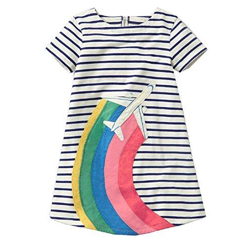 asual Baumwolle Tiere gedruckt Streifen Kurzarm Playwear Kleid(2T,Rainbow Runway) ()