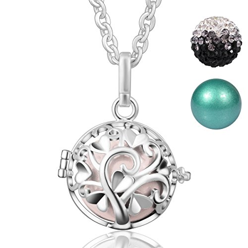 Lange Anhänger Halskette für Frauen Silber Baum der Liebe Personalisierte Engel Sounds mit 3 Bällen ()