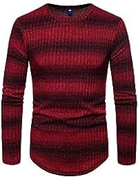 LDTY Suéter de Cuello Redondo para Hombre Otoño Jersey de Punto A Rayas  Gradiente Delgado Camisa 3791f954d58b2