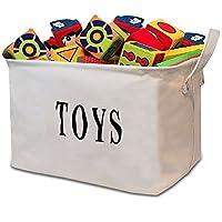 "Tougo Large Size White 17"" Jute Toy Storage Basket Bin Chest Organizer Perfect for Toy Storage,Storage Basket for organizing Baby Toys, Kids Toys, Baby Clothing, Children Books, Gift Baskets"