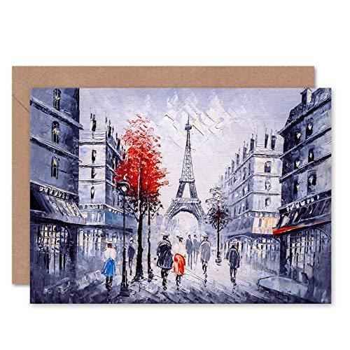 FINE ART PRINTS Eiffel Tower In Paris Red Tree Greeting Card with Envelope Inside Premium Quality Eiffelturm Baum