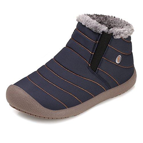 SANMIO Warme Schnee Stiefel, Winter Pelz Futter Knöchel Stiefel, Dicker Winter Outdoor Slip auf Wohnungen Schuhe (Blau,EU 38)