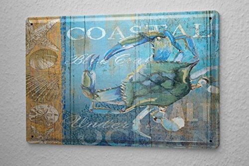 Blechschild Küchen Deko Seepferdchen Muscheln Seesterne Metall Wand Schild 20X30 cm