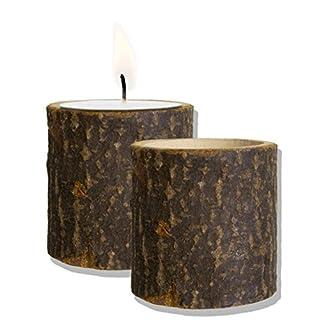HomeTools.eu – 2 Kerzen-Ständer Baumstumpf Design | für Tee-Lichter, Kerzen | Natur Holz, natürliche Landhaus Deko | 5cm, Echt Holz, 2er Set