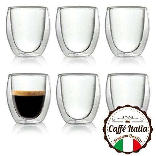 Caffé Italia Roma 6 x 60 ml Doppelwand-Thermo-Gläser - für Espresso Tee Heiß- und Kaltgetränke...