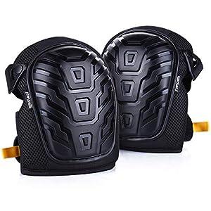 SENMEI Rodilleras de gel, rodilleras protectoras para trabajo, de jardinería, construccion, almohadilla de espuma de gel Amortiguador de rodilla robusto y fácil de fijar, ajustado Wraps con clips