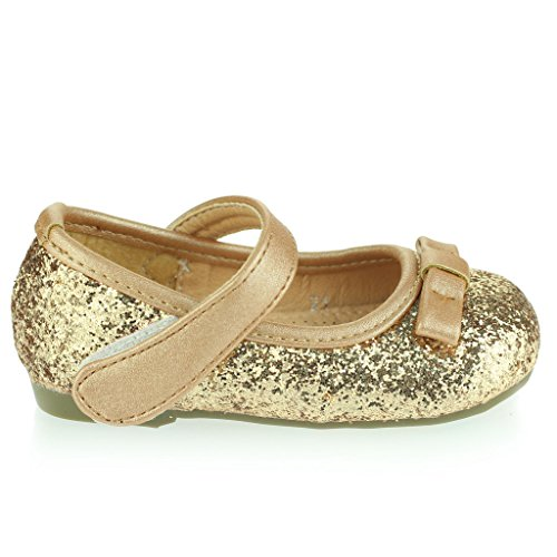 Kinder Mädchen Sparkly Bogen Detail Klettverschluss Baby Flach Pump Gepolsterte Sohle Ballet Sandale Schuhe Größe Gold