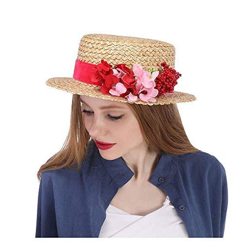 Giow Sommer Stroh Boater Sonnenhut rote Blume Hut Stroh Sonnenhut mit roten Blumen Stroh Boater Hut Kentucky Derby Hut Blume Rennen Hut breiter Krempe rote Blumen Kirche Hüte für Frauen Damen Mäd (Kirche Damen Passt)