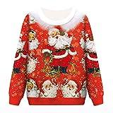 Herren Weihnachten Tops,Marlene Unisex Männer und Frauen Weihnachten Rundhalsausschnitt Hoodie T-Shirt