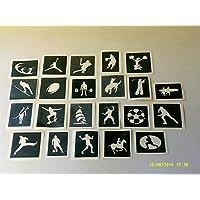 Dazzle Glitter Tattoos 25 x sport stencils for etching on glass (mixed) baseball football karate skater