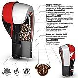 RDX Boxhandschuhe Sparring Rindsleder Training Kickboxhandschuhe Muay thai Sandsackhandschuhe, Rot, Gr. 12 oz - 3