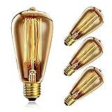 Heofean 4Pezzi Vintage Lampadina 60W, con Attacco a Vite Edison Lampadina ST64Retro Lampadina (Vecchio Stile), tungsteno filamento a Gabbia di Scoiattolo in Vetro Antico Lampada | 2700K