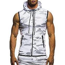 DAY.LIN Débardeur Hommes Gilets Gym Bodybuilding Mode Casual Été Camouflage À Capuche sans Manches Singlet Surdimensionné sous-Vêtements Top Blouse T-Shirt(Medium,Blanc)