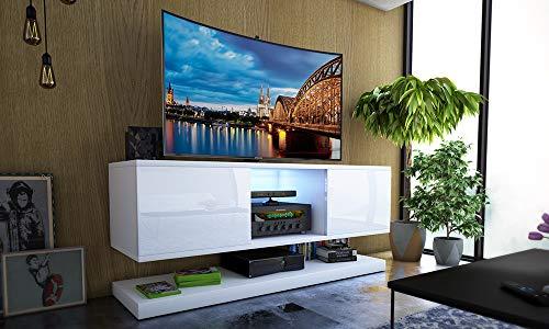 Selsey Wizz- Meuble TV Moderne Blanc avec LED, 140 cm