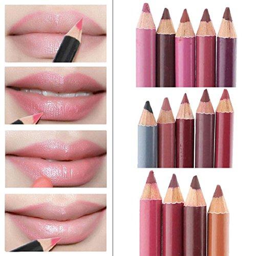 Crayon à lèvres, Amison Lot de 12 Couleurs Différentes Imperméable Crayons Lèvres 15CM Maquillage