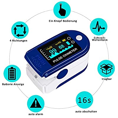 kungfuren Finger Pulse Oximeter, Family Health Care Blood Oxygen Saturation Monitor, Oximeter Finger Automatic Shutdown and Fast Reading + Carrying Bag, Batteries and Lanyard