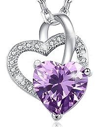 Déstockage-MARENJA Cristal-Collier Femme en Coeur-Cristal Violet-Plaqué Or Blanc-Bijoux Fantaisie-44+5cm
