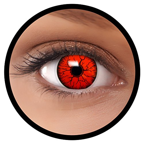 Farbige Kontaktlinsen rot Devil | Ideal für Halloween, Karneval, Fasching oder Fastnacht | Inklusive Behälter von FXEYEZ | Ohne Stärke als 2er ()