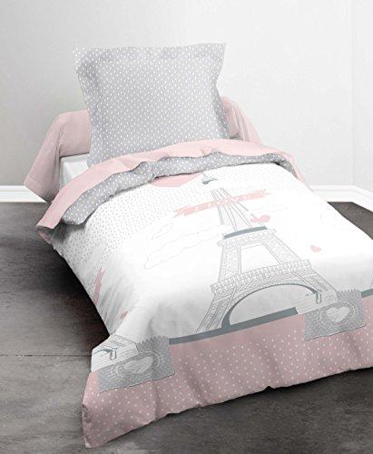 Housse de couette I Love Paris 140x200cm 100% coton et 1 taie d'oreiller 63x63cm