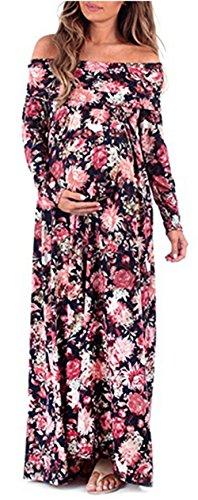 AGOGO Frauen Schwangerschaftskleid Damen Mutterschaft Kleider Cowl Neck Schwangere Elegante Fotografie Stützen Off Schultern Mutterschaft Krankenpflege Langarm Maxi Kleid (Blume gedruckt 1, Medium) (Neck Kleid Mutterschaft Cowl)