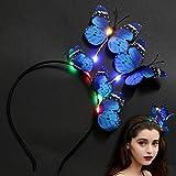 outgeek Schmetterlings Stirnband Party Stirnband, Schöne Kreative Exquisite Butterfly Hair Hoop Party Kopfschmuck mit 8 LED leuchtet USB Ladung für Frauen (Blau)