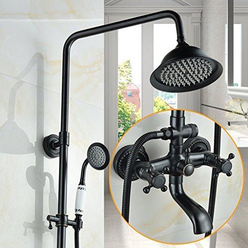 Shower set European Style Black Antique Duschset Pressurized Runde Big Top Spray Voller Kupfer Wasserhahn (größe : B1)