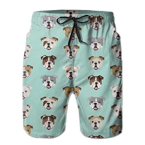 Mens English Bulldog Dog Face Mint Green Swim Trunks Drawstring Elastic Waist Surfing Beach Board Shorts(XXL)