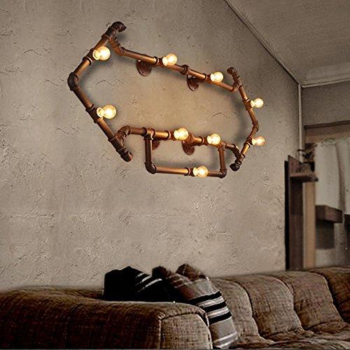 Wandleuchten Vintage Metall Wasserrohr Wandlampe Seeksung Edison 9 Lichter Industrie Loft Bar Hause dekorative Wandbeleuchtung Rost Farbe Breite 135cm * Höhe 64cm (Loft 9 Licht)