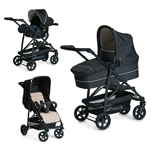 Imagen para Hauck Rapid 4 Plus Trio Set - 3 en 1 carrito de bebe, Grupo 0+ adaptable a isofix, capazo, respaldo reclinable, de 0 meses a 25 kg, manillar ajustable en altura, plegado con una sola mano, negro beige
