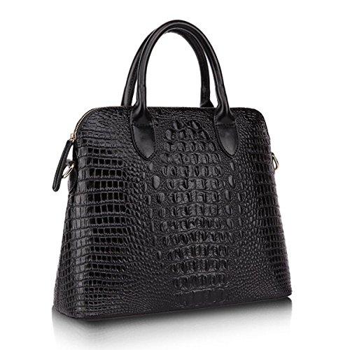 KAXIDY Krokodil-Korn Leder Handtasche Damen Mädchen Schultertaschen Leder Messengerbags Schulter Handtasche Tasche Damentasche (Schwarz)