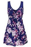 Wantdo Mujer Traje de Baño 1 Pieza Monokini Impresión de Flores Elastico Cuello En V 40-42 Azul Marino