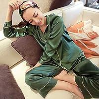 Oyamihin Mode-koreanische Art-Nachahmung Seide-Frauen-Pyjamas stellten weiche Nachtwäsche glattes langes Hülsen-Homewear Homie Nightwear EIN