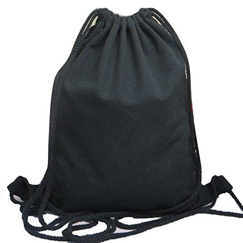 Skang Deman Rucksack Backpack Mode Wild Einfarbig Mit Bündel Kordelzug Canvas Lässiger Daypacks Schüler Bag Schultaschen Für Reisen(Einheitsgröße,Schwarz)